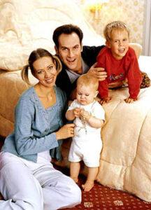 Михаил Шац с супругой Татьяной Лазаревой и детьми