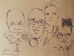Яна Тюлькова с музыкантами, портрет художника Оскара Ульбига.