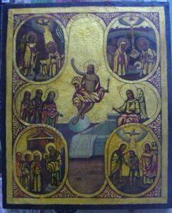 Переработка западной живописи эпохи Возрождения. Икона 20-го в. Христос — воскресший революционер.